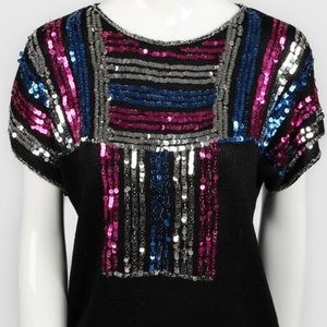 Vintage Sequin Disco Knitted Top
